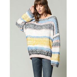 Oversized multi color block sweater